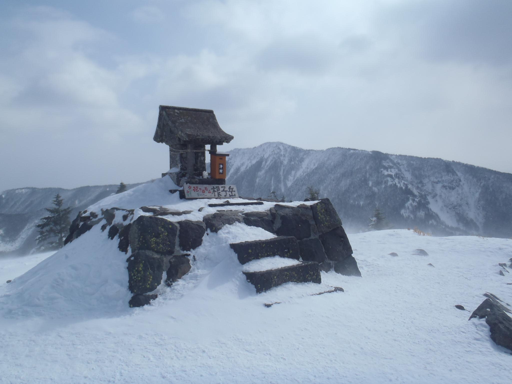 根子岳山頂(後背は四阿山)