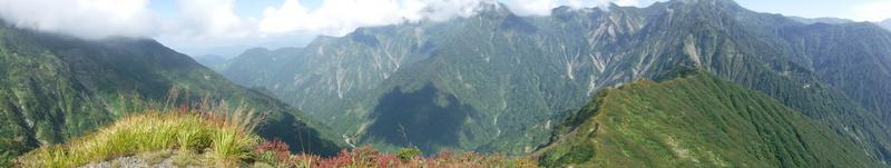 駒ヶ岳から中ノ岳へのパノラマ(上が切れている)