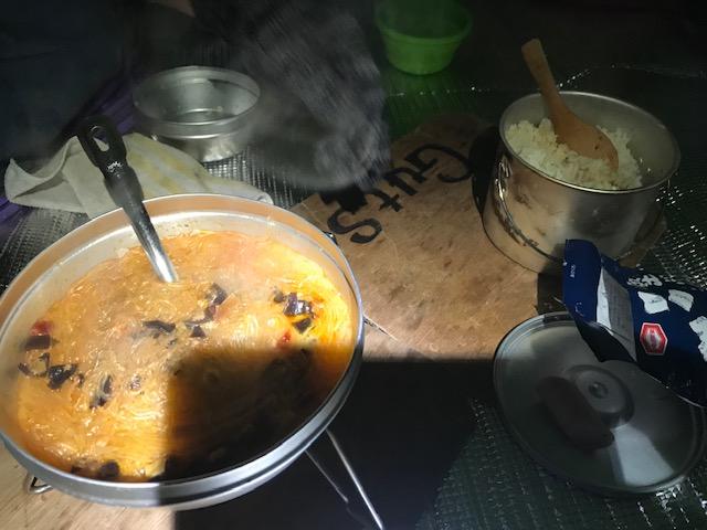 マーボ春雨、白米(炊飯)