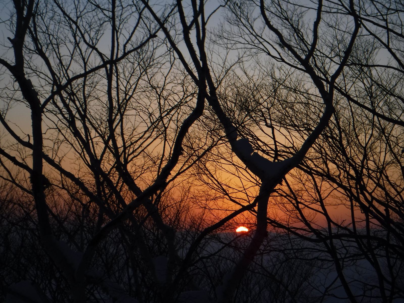 2/21(日)6:30 雪洞から出て、日の出を望む