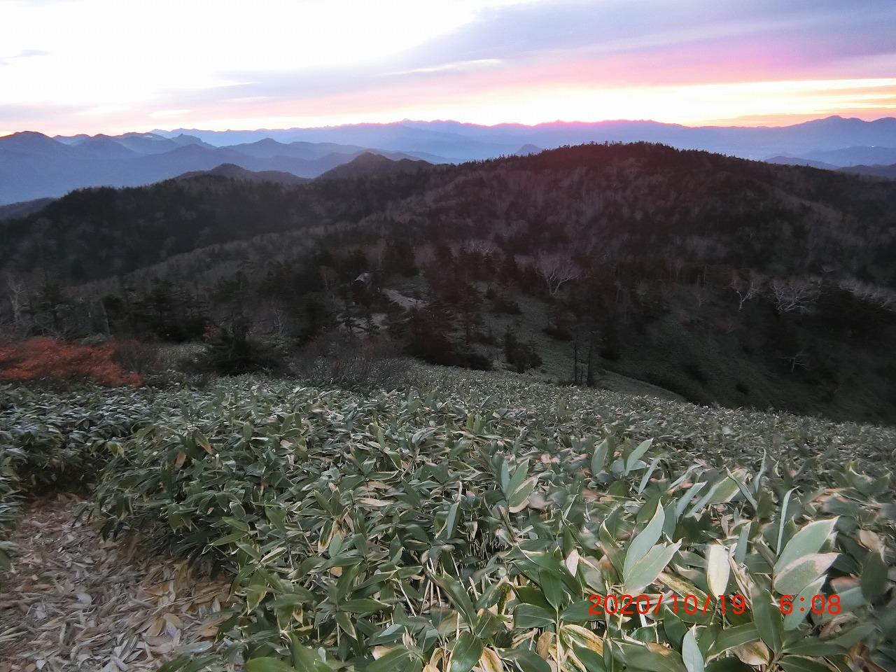 上の倉山の登りから避難小屋を見る