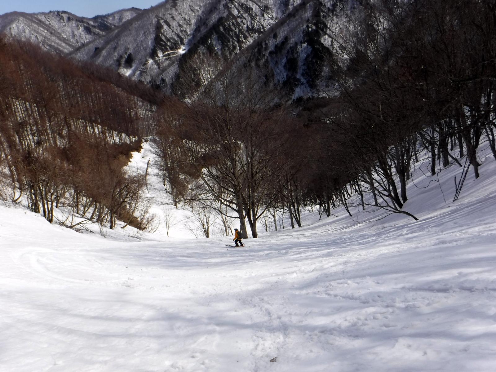 11:50 林道手前 1200m付近 雪はやや重くなってきた