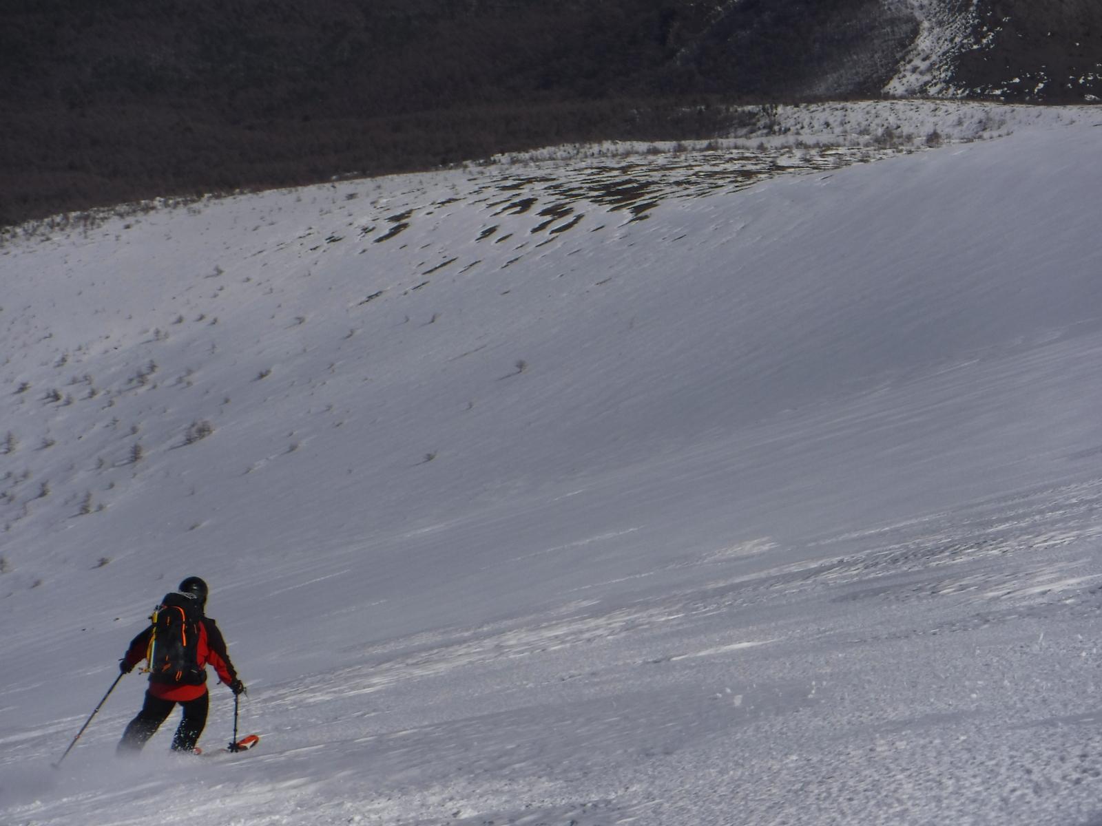 12:50 緊張する堅雪の滑り、ストックは二人ともウイペット