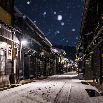 飛騨高山冬の古い町並み