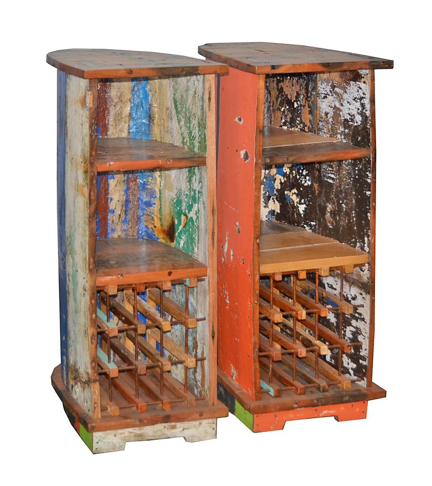 bootsregal jukung half mit weineinsatz ocean wood m bel aus booten. Black Bedroom Furniture Sets. Home Design Ideas