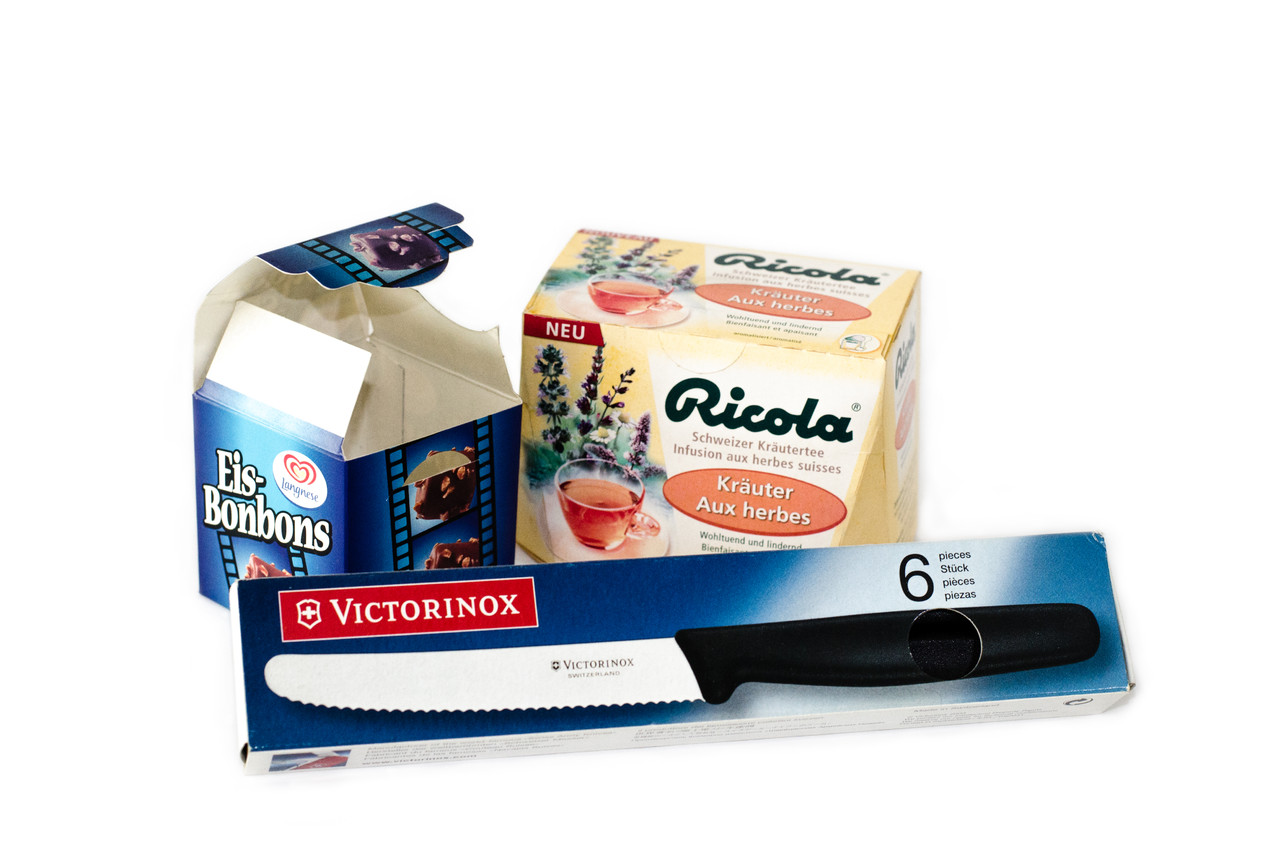 Langnese-,  Ricola- and Victorinox packaging