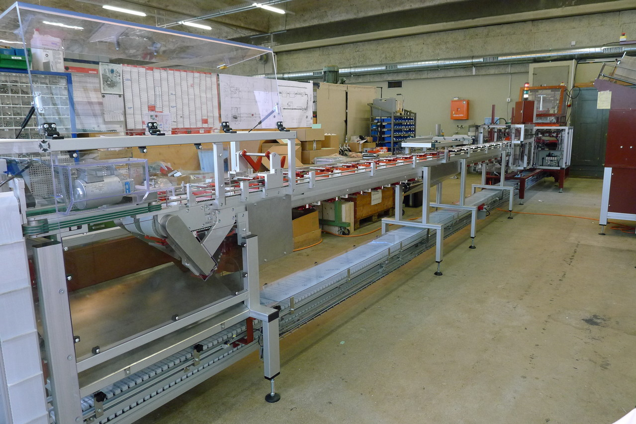 complex conveyor with special package opener for easy filling