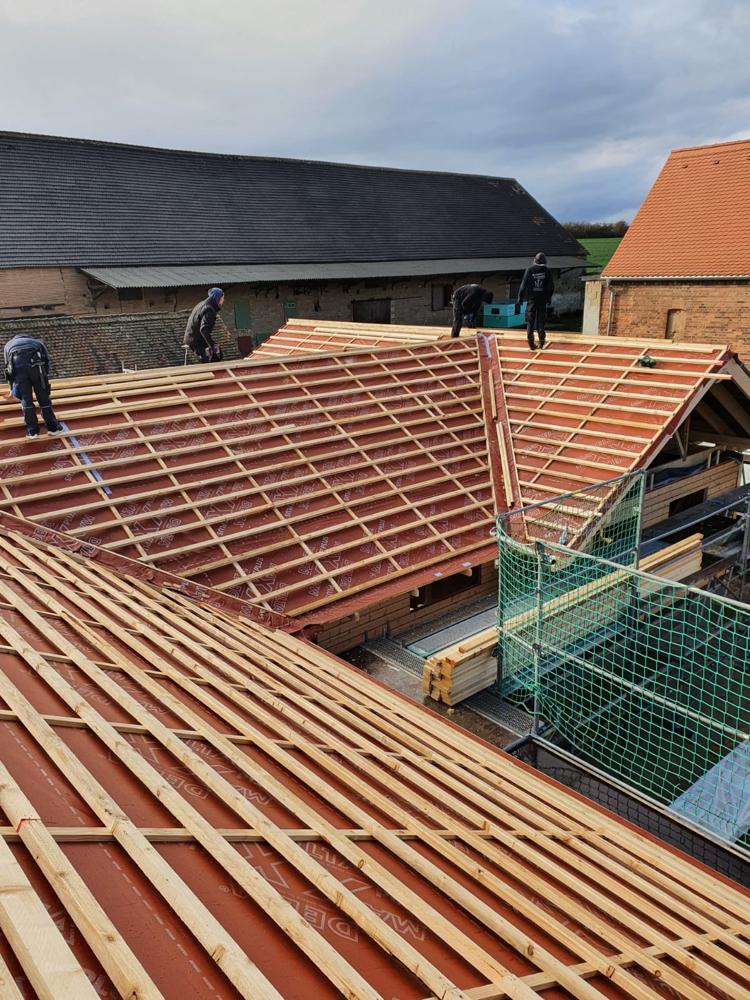 Aufstellen eines Dachstuhls