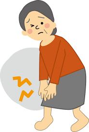 膝の痛いおばさんのイラスト