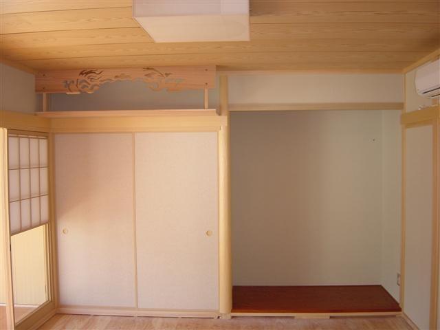 和室には床の間と神棚を、おじいちゃんと、おばあちゃんの部屋です。