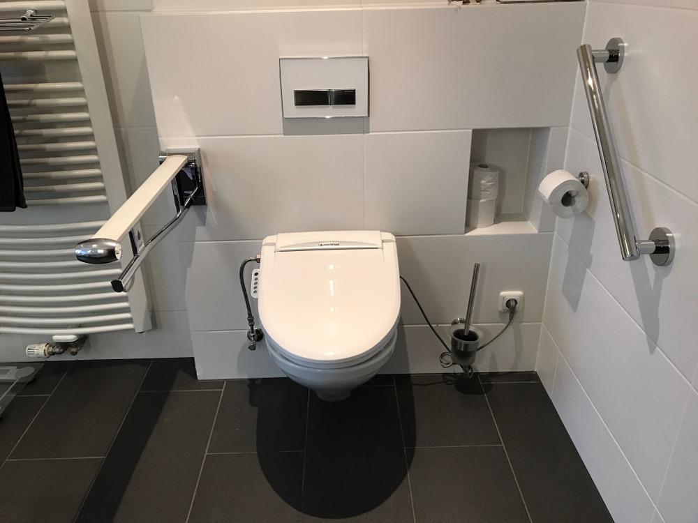 WC mit Haltegriffen und Hygienefunktion (Dusche und Warmluft)