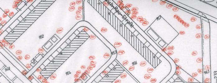 Ein von der SiLa Haus-und Grundstücksservice GmbH erstellter Katasterplan für die Baumkontrolle