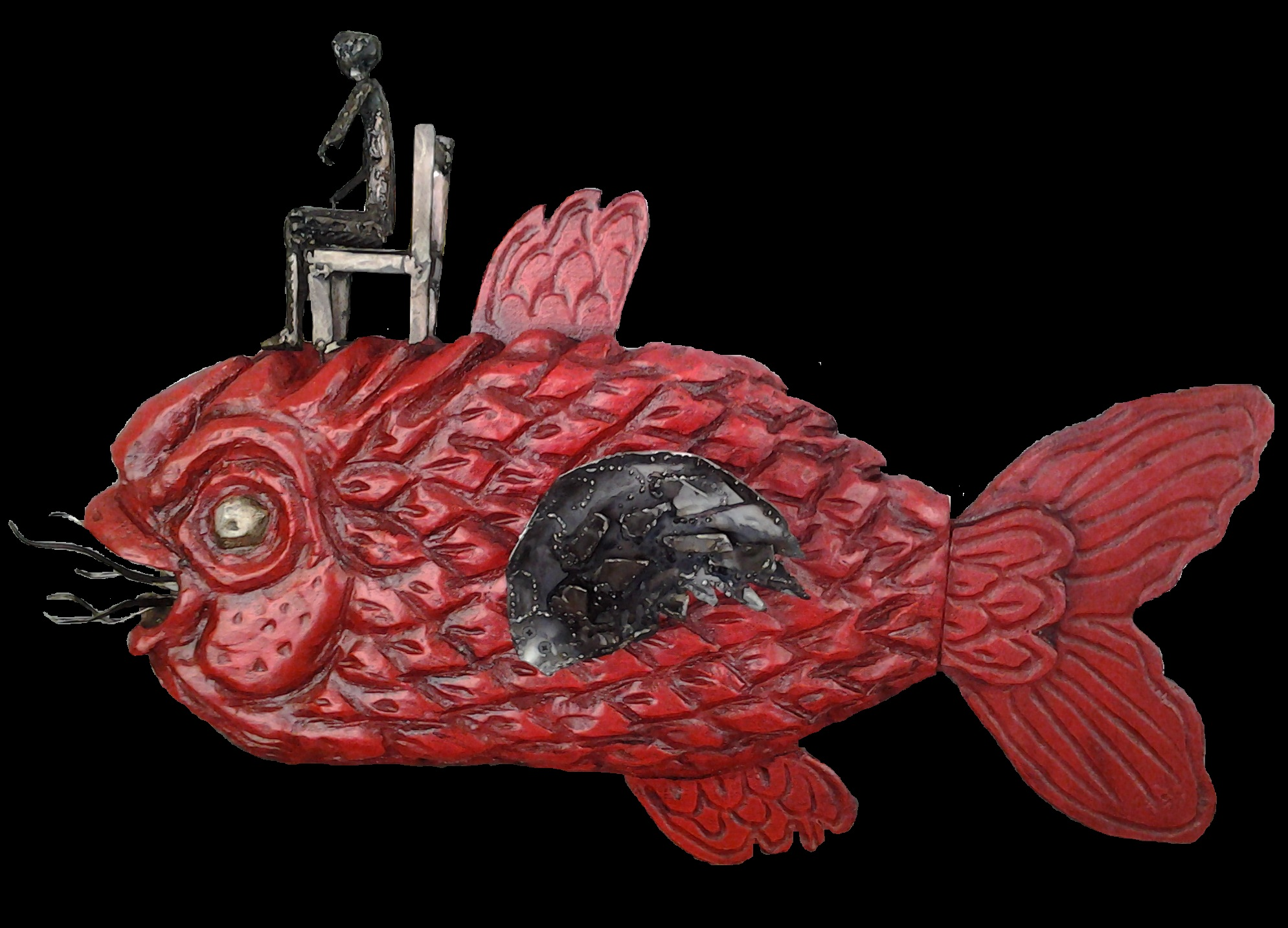 Reise des Odysseus, Holz-Stahl, 2012, 80 x 35 x 20 cm