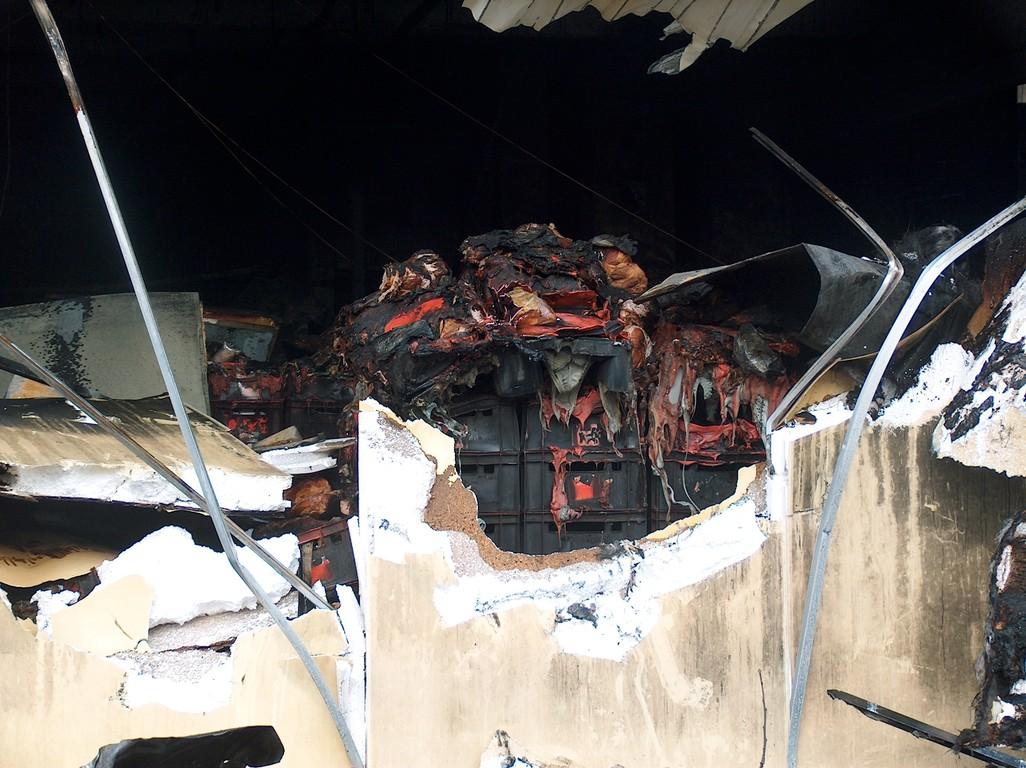 Tonnenweise verbrannte Fleichprodukte