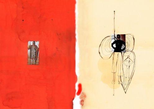 """""""La vie en Rose"""", eine Hommage an die Mode, Collage auf Leinwand gedruckt, 40x50cm, 2004"""