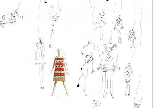 """""""L""""""""La vie en Rose"""", eine Hommage an die Mode, Collage auf Leinwand gedruckt, 40x50cm, 2004"""