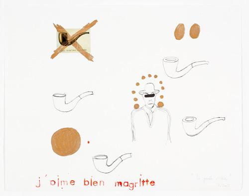 """""""J´aime bien Magritte"""", Collage auf Papier, 2007"""