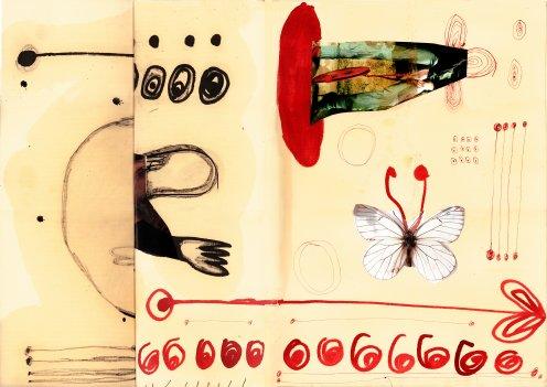 """""""""""La vie en Rose"""", eine Hommage an die Mode, Collage auf Leinwand gedruckt, 40x50cm, 2004"""