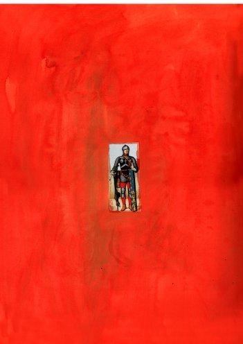 """""""Knight in Red"""", Collage auf Leinwand gedruckt, 100 x 140 cm, 2004"""