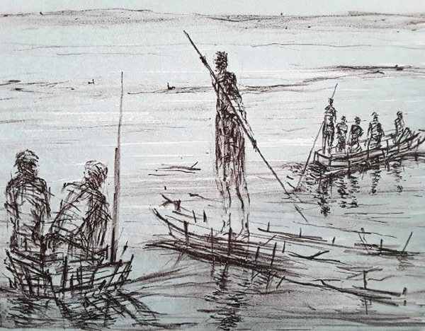 Madeleine Heublein // Auf See. 2019. Lithographie. 26 x 40 cm.