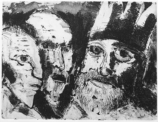 Angelika Dietzel // Ratlos – für Heinrich. 1994. Aquatinta. 24 x 32 cm