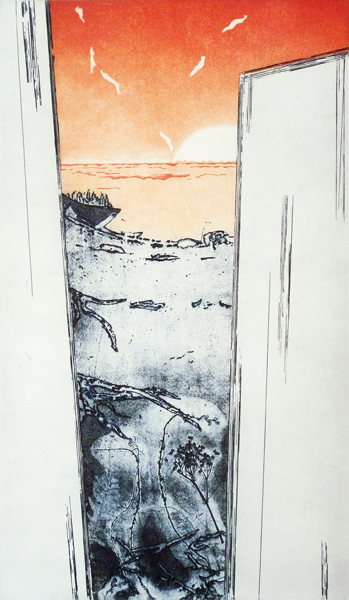 Constanze Zorn // Überfahrt. 2016. Reservage/ Vernismou/Aquatinta. 2 Platten.  49 x 29 cm