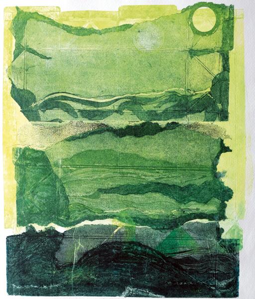 Sabine Müller // Dreigeteiltes Land - grüne Landschaft. 2018. Kaltnadelradierung auf Tetra-Pak/Collagraphie. 34 x 29 cm