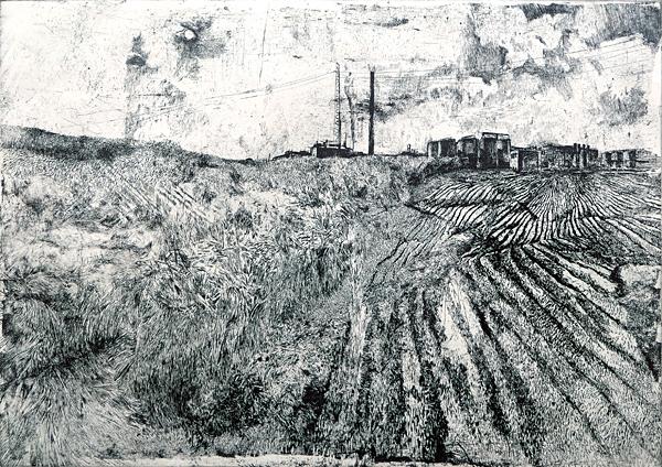 Gisela Kohl-Eppelt // Industrielandschaft. 1978. Kaltnadel. 30 x 42 cm