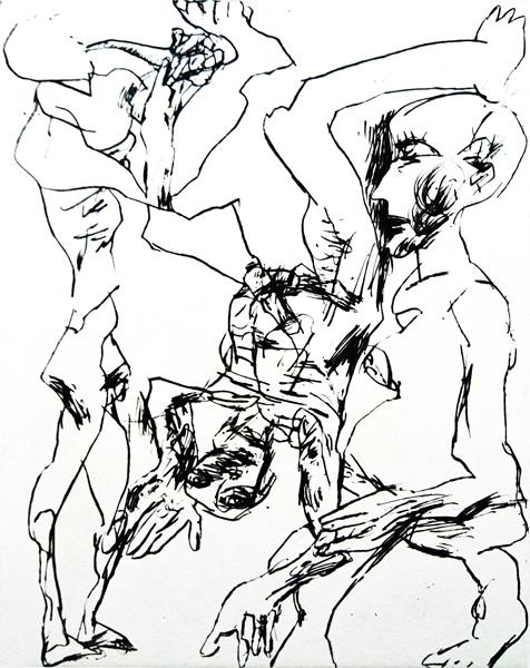 Peter Schnürpel // Marsyas. 2018. Kaltnadel. 29 x 22 cm