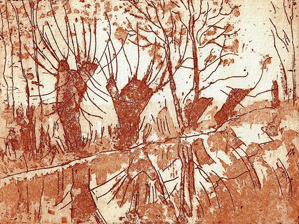 Ursula Bahr // Weiden am Bach. 2006. Reservage. 12 x 16 cm