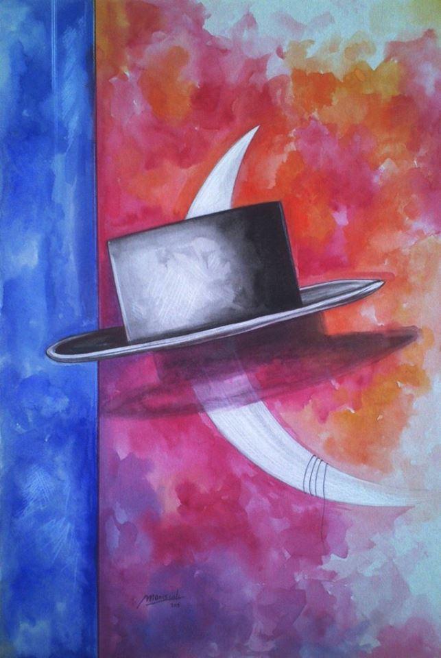 Luna e cappello - acquerello su cartone, cm.