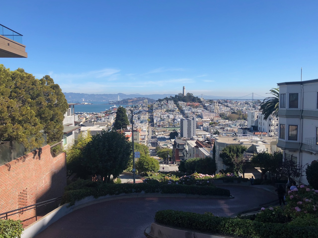 At the top of the famous Lombard Street looking down into the City