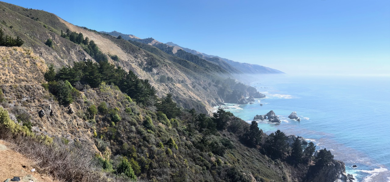 A scenic look down the south coast off Big Sur