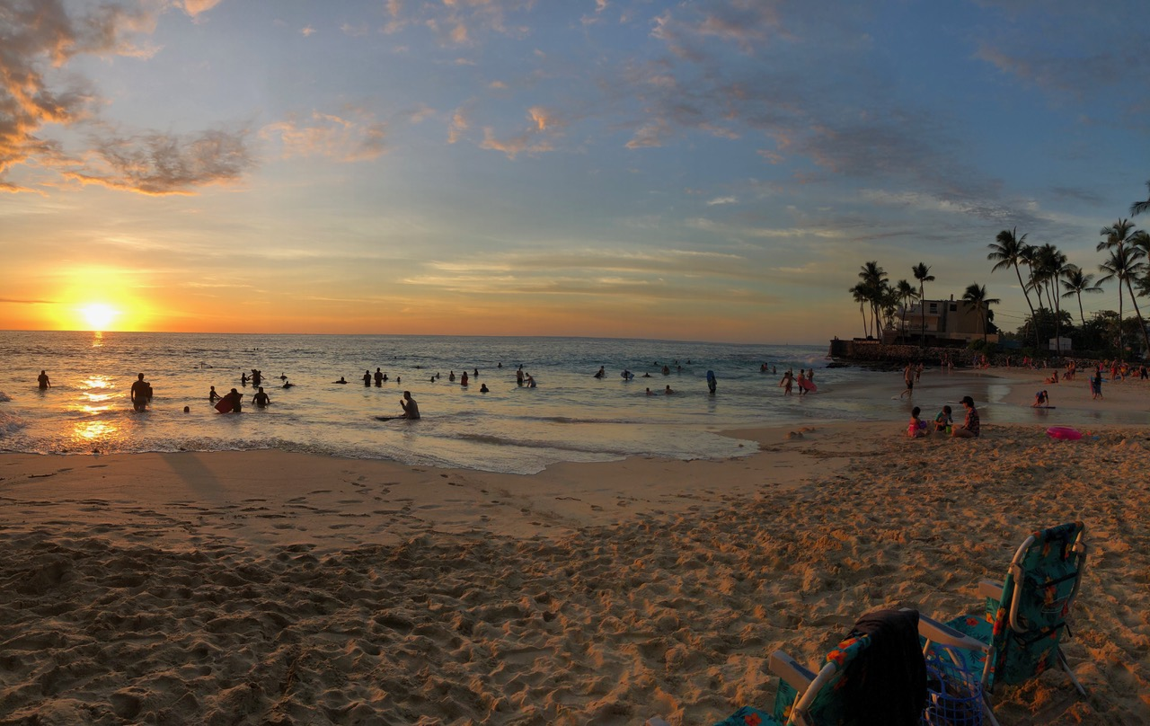 We went for an evening Boogie Board in the waves at Magic Sands Beach in Keauhou..