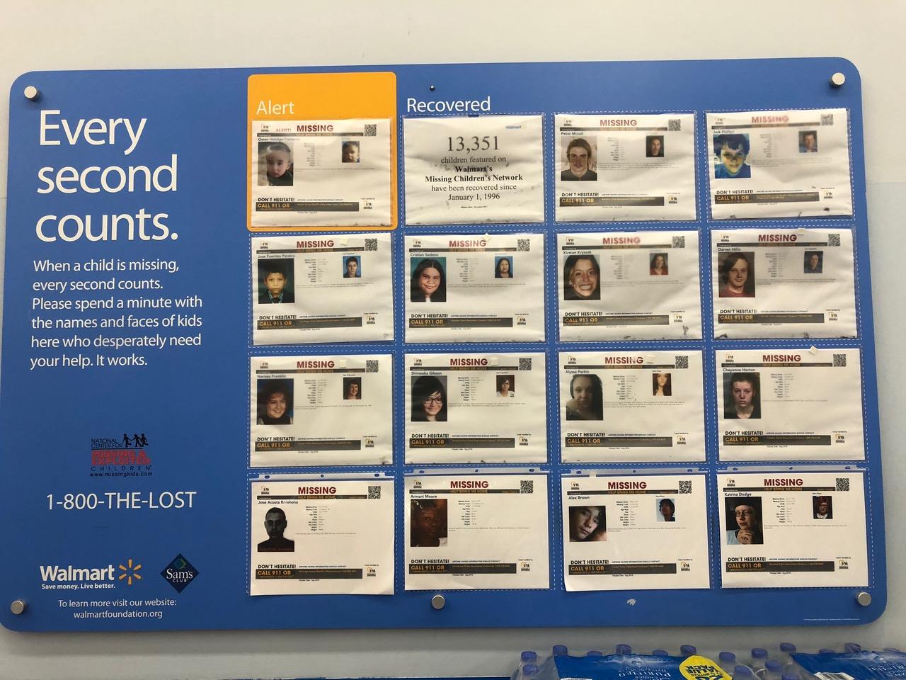 """Quite shocking Walmart Pin-Up for """"Missing Kids"""""""