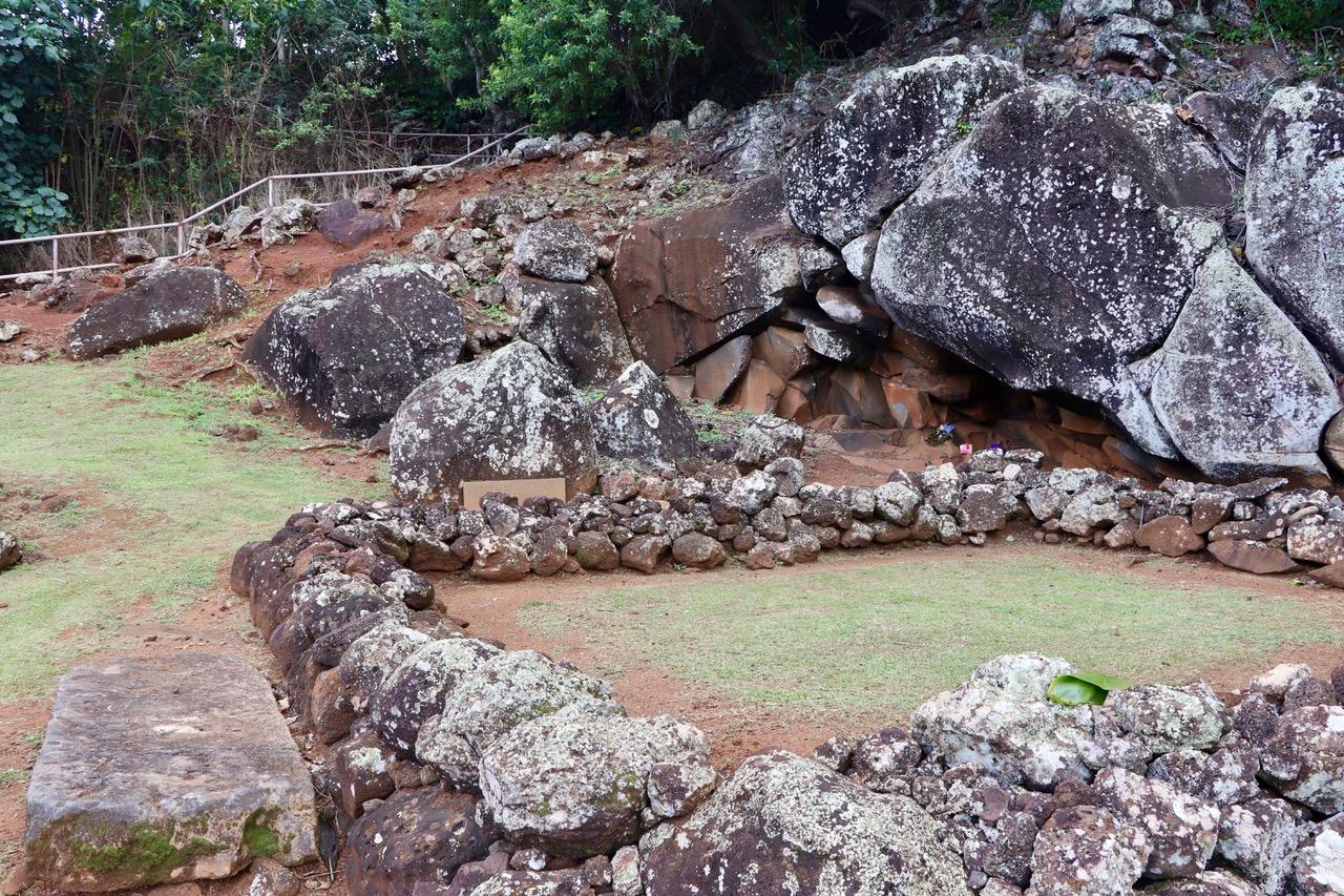 Holoholoku Heiau, one of four heiau, or sacred religious sites in the Wailua area, Holoholoku is believed to be the oldest heiau on the island of Kaua'i
