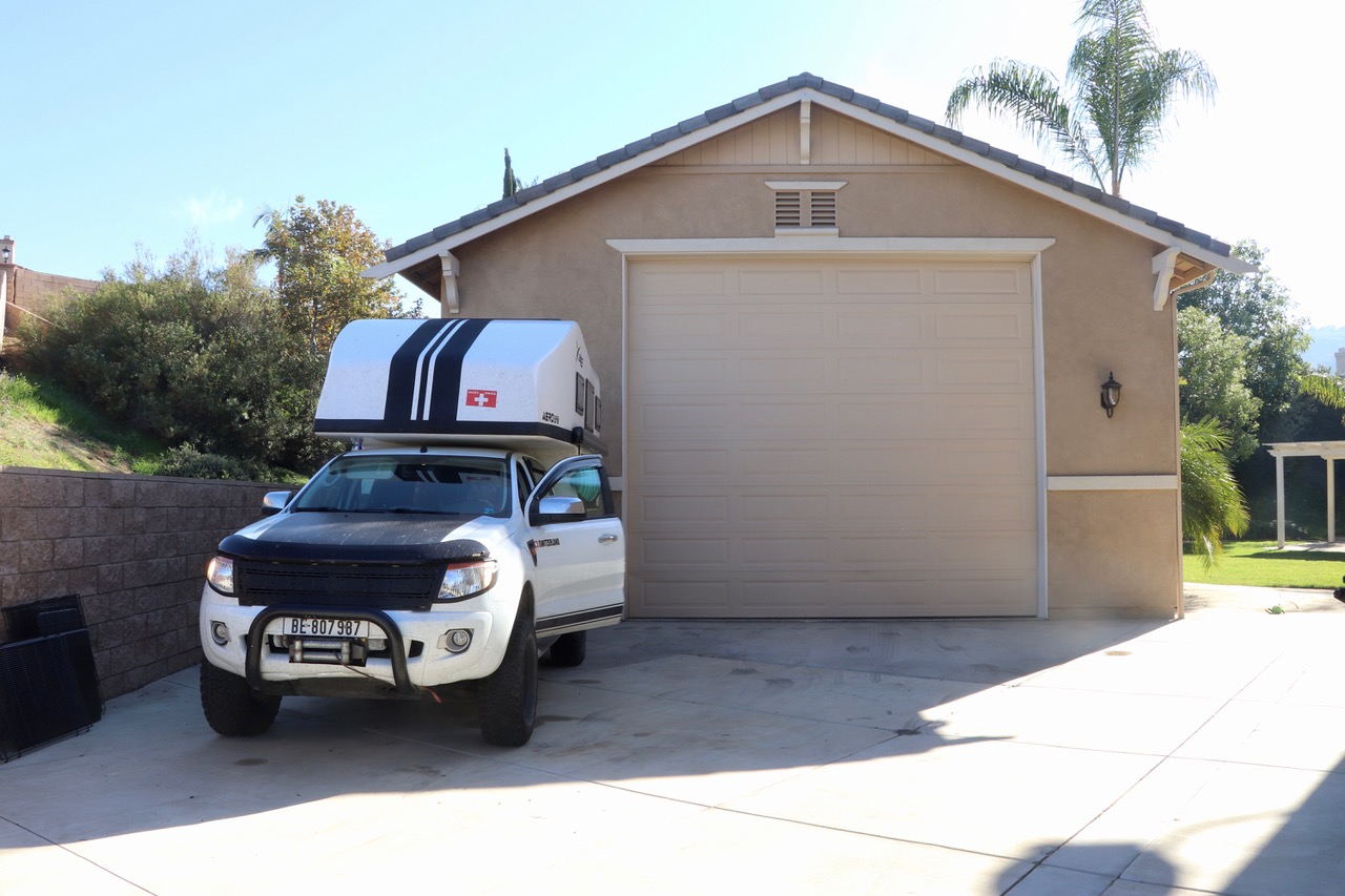 Back in LA we are glad to see our Overlander parked safely in Frank's driveway