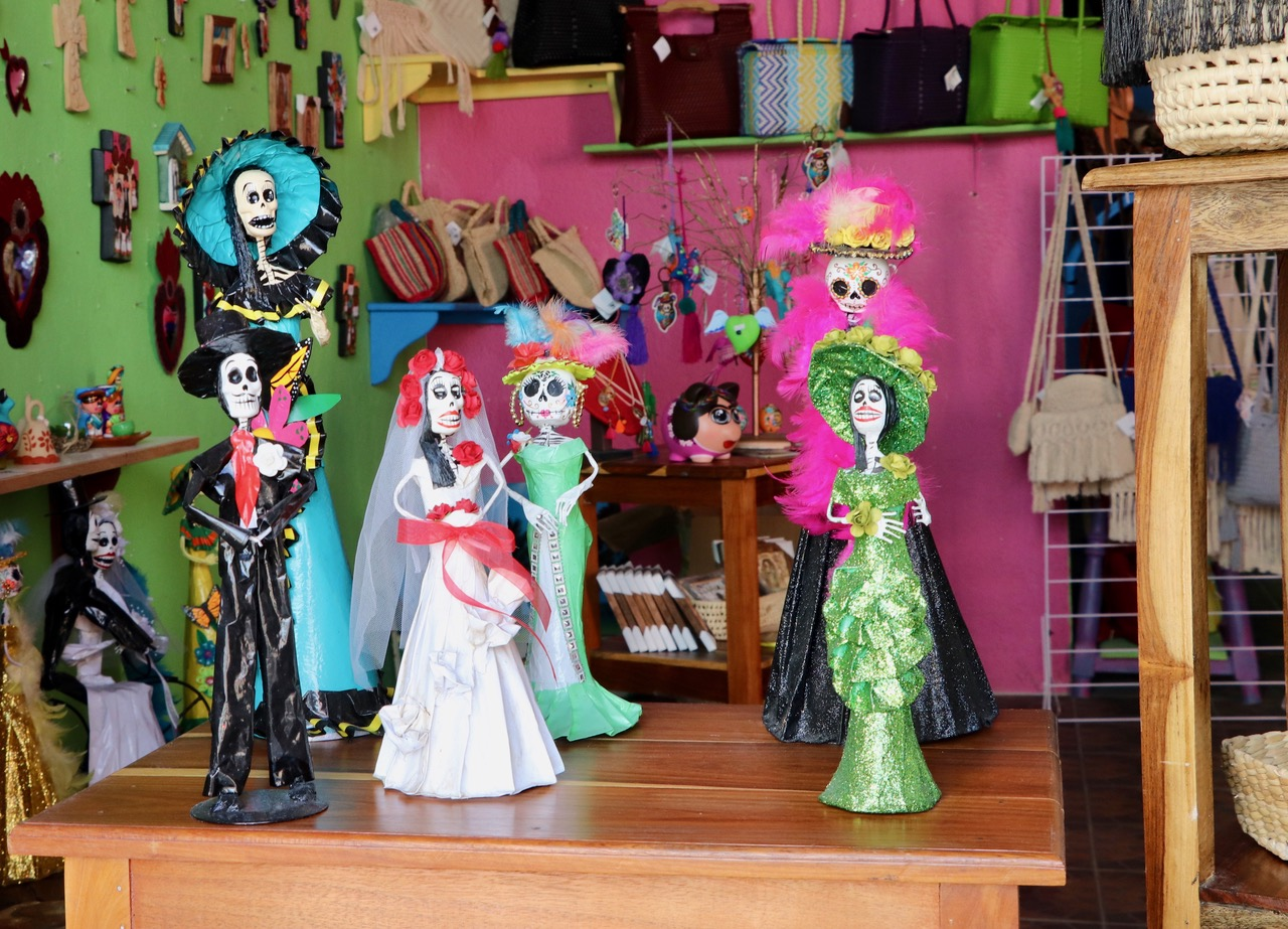 All over Mexico you find these, what you call Catarina's, a skeleton dressed in a beautiful dress. This is the way the natives made fun of their President a hundred years ago