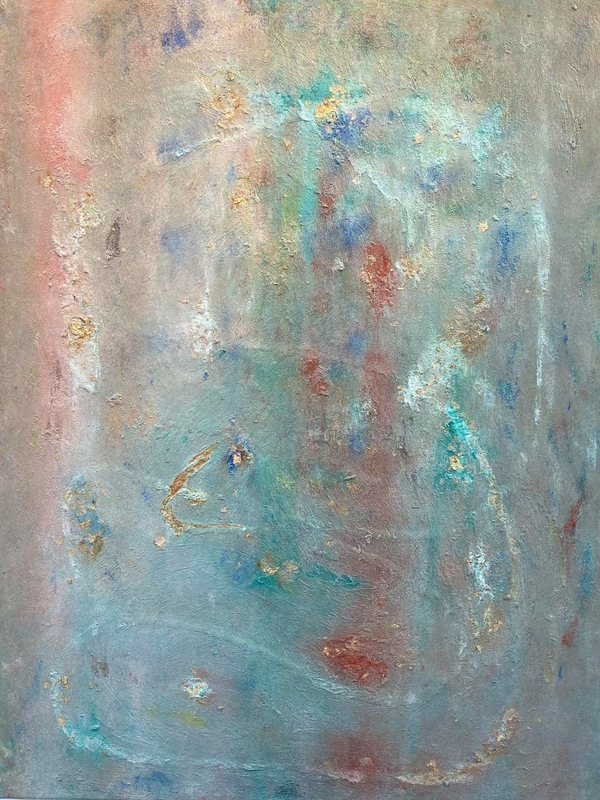 Tenderness, 60x80cm, oil, gold leaves, structure, mixed media on canvas
