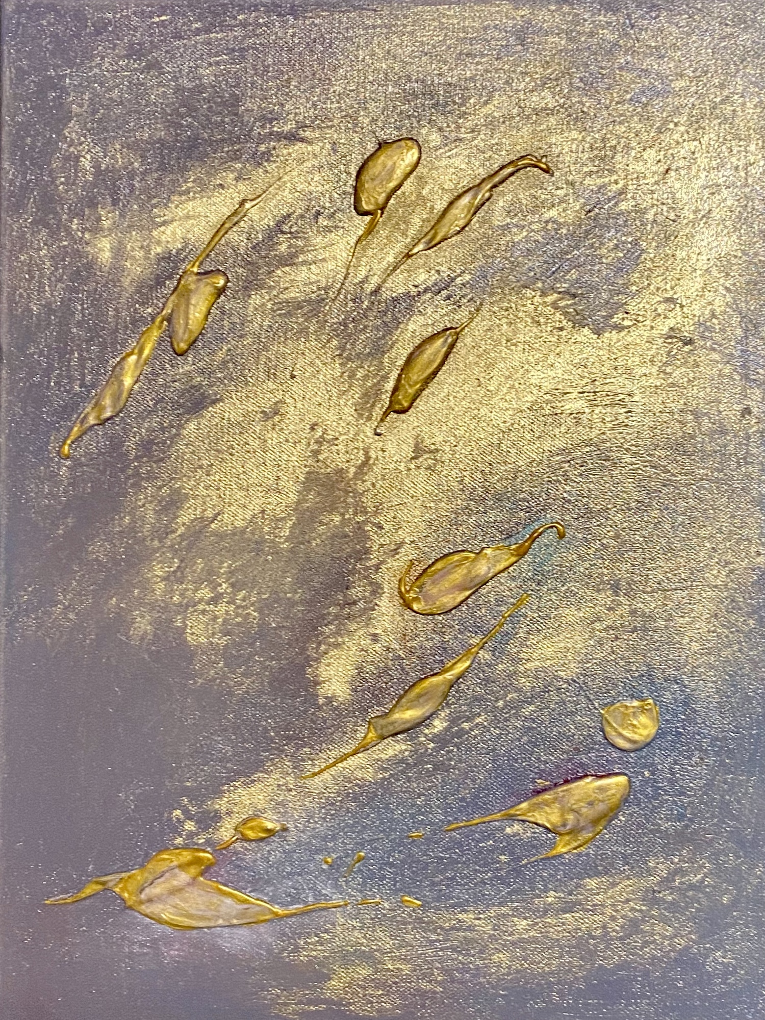 Golden twins I, 30x40cm, oil, gold leaves, structure on canvas
