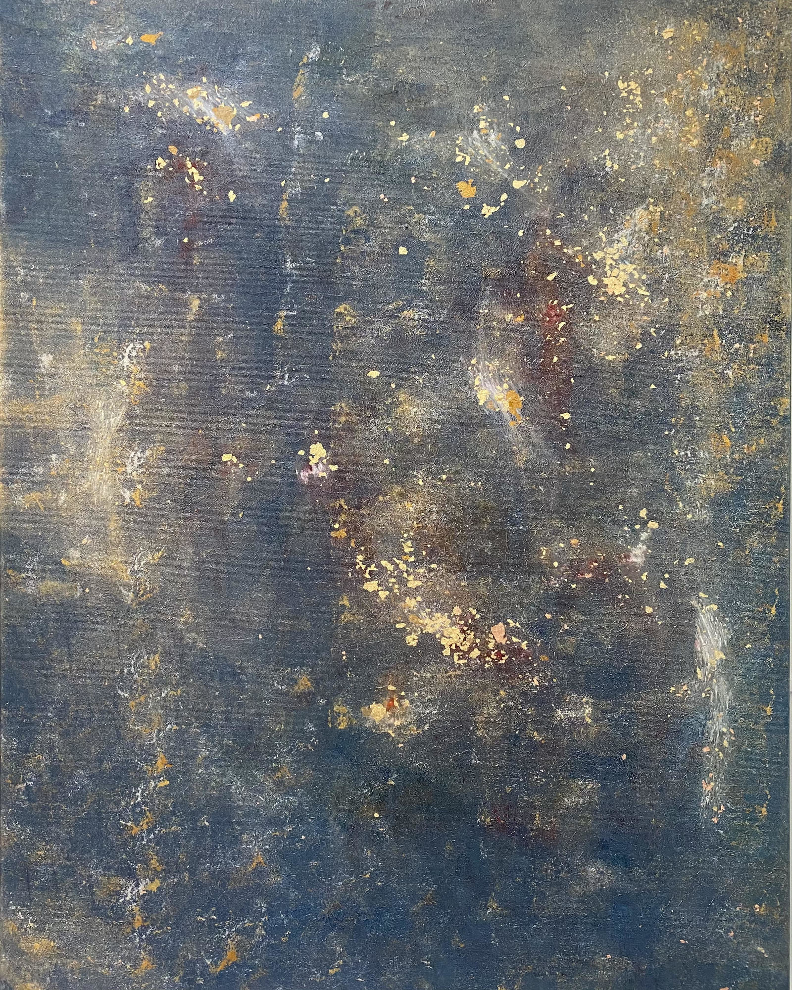Space, 80x100cm, oil, gold leaves on canvas