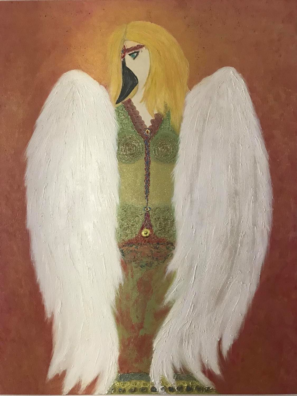 Guardian angel, 60x80cm, oil, 3D paint on canvas