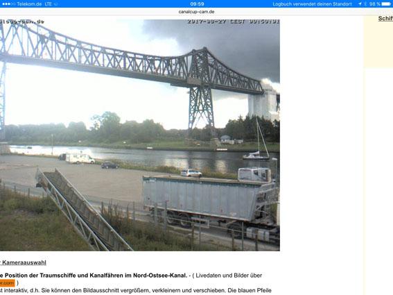 Brückenselfie- um 09:59 Uhr die Rendsburger Hochbrücke passierend
