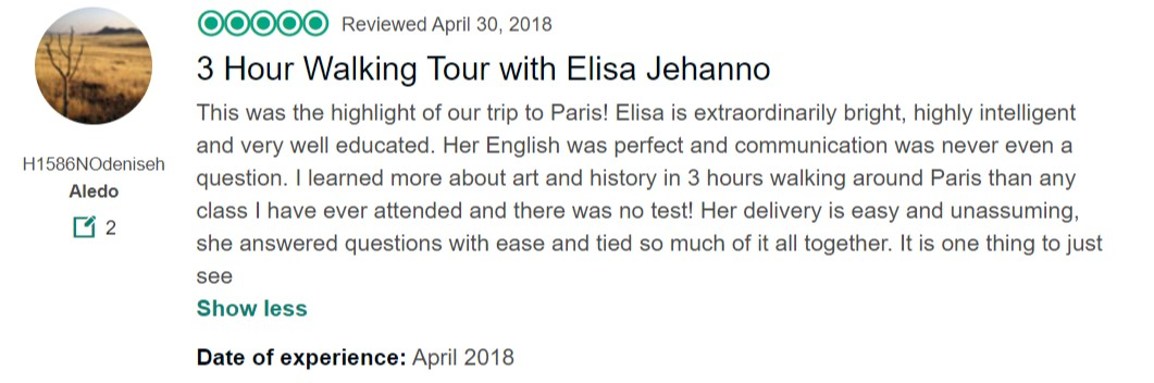 "Tripadvisor review ""3 Hour walking tour with Elisa Jehanno"""