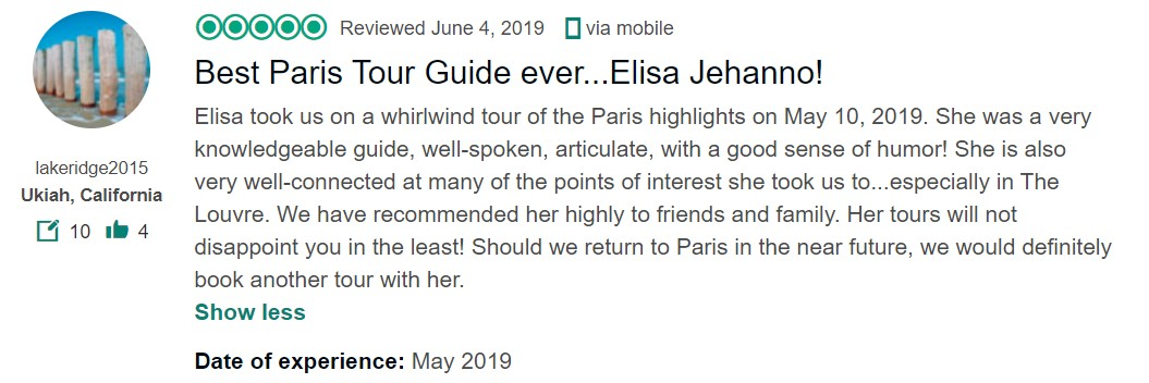 "Tripadvisor review ""Best guide ever Elisa Jehanno"""