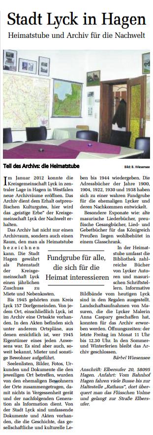 PAZ Artikel vom 19.April.2014