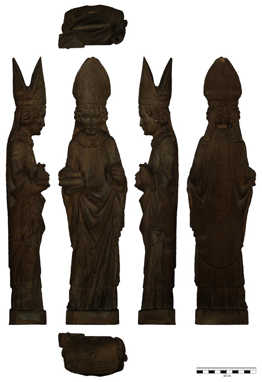 Entzerrte Ansicht einer 3D-gescannten Heiligenfigur