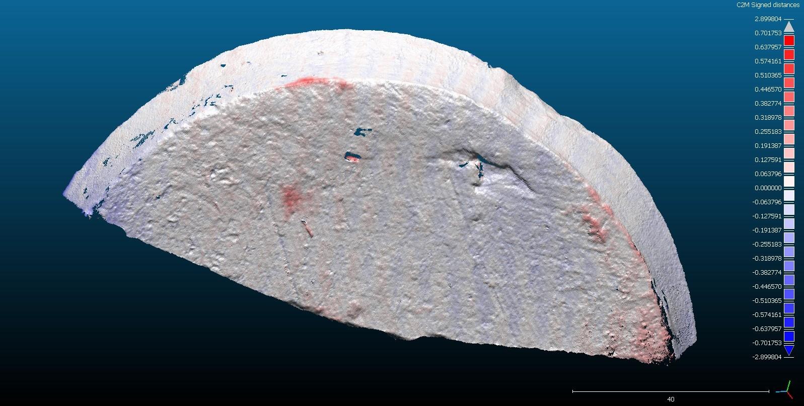 Visualisierung von Oberflächenverlusten (rot)