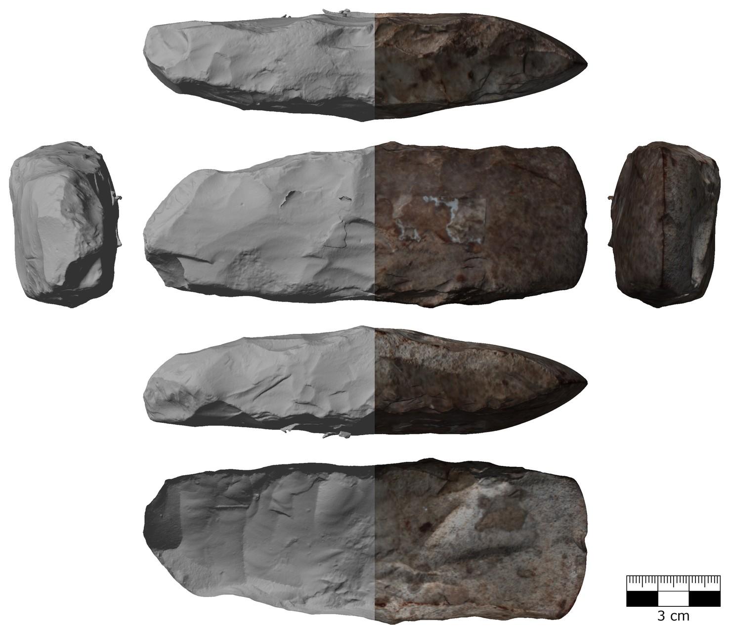 Prähistorische Steinaxt mit (rechts) und ohne (links) Textur