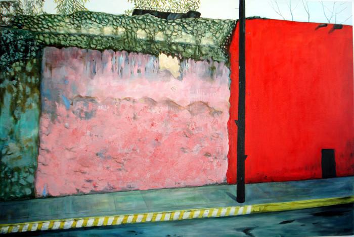 "Red Wall (Mexico-Valladolid), 48""x72"" / 红墙 (墨西哥-瓦拉岛理徳), 102x183cm  2008"